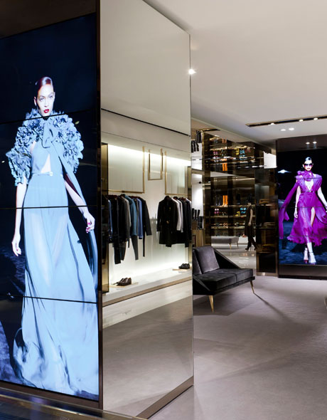 Photo showing use of video walls in a fashion retail store